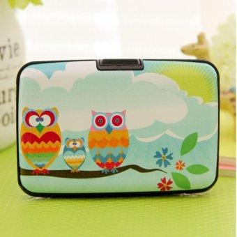 Moonar 14 Slots Cartoon Owl Pattern Credit Business ID Card Holder Case Box (1#) - intl