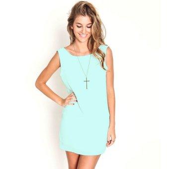 Casual Chiffon Lace Summer Mini Dress (Green) - Intl