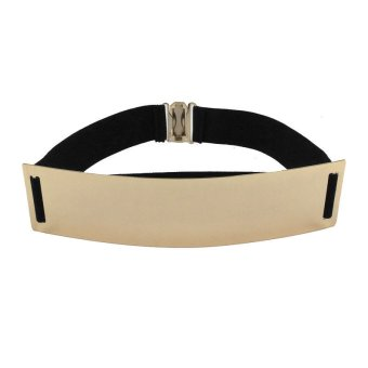 Elastic Mirror Metal Waist Belt Metallic Wide Accessories Dress Black