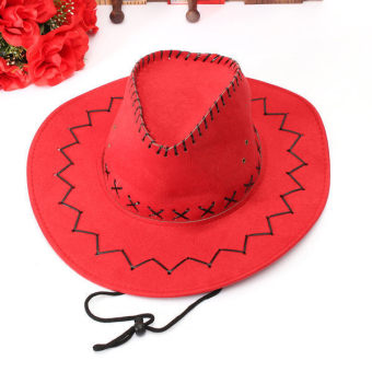 Fur Unisex Men Women Cowboy Cap Felt Material Western Sun Visor Knight Hat with Chin Cord Red (Intl)