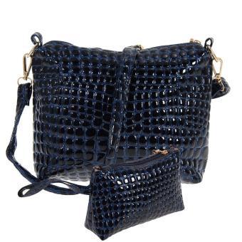 Women Crocodile PU Leather Shoulder Bag(blue) (Intl)