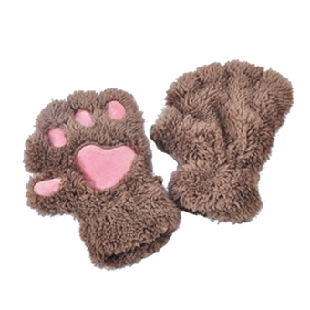1 Pair Cute Women Bear Cat Paw Pattern Cashmere Half-finger Winter Gloves Light Coffee