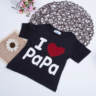 Kids Letter Printed T-shirt Round Collar 01 (Black+Letter Papa) - intl