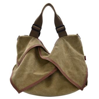 Multi-purpose Canvas Casual Shoulder Bag Crossbody Messager Bag Laptop Bag Handbag for Women Girl Khaki - intl