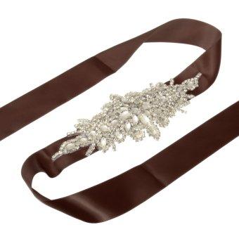 Brown Retro Bridal Ribbon Rhinestone Crystal Wedding Dress Belt Beaded Sash 10 Color - intl