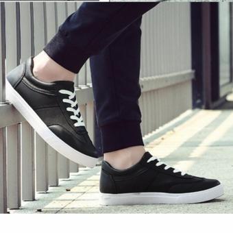 Giày Bata Cổ Ngắn Viền Chỉ Sm083 (Đen)