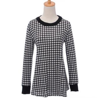 Fashion Women Black Long Sleeve Round Nec Loose Blouse (Intl)