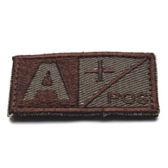 Woodland Olive Green Military Blood Type A + Positive Hook Patch (Brown)(Intl)