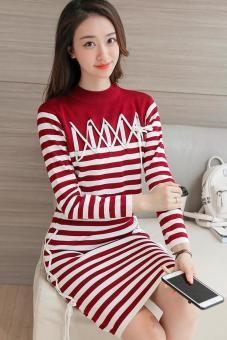 Bộ áo len và chân váy kẻ sọc TQ1805-1