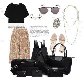 Bộ 8 balo, túi xách và ví thời trang Làm Đẹp (đen)