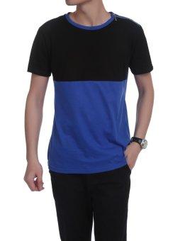 Linemart Men Casual Short Sleeve O Neck Zipper Decor Contrast Color Patchwork Slim Pullover T-Shirt ( Blue ) - intl