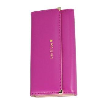 Fashion Women Love Folding Wallet Purse Phone Case Handbag Rose Red - Intl - intl
