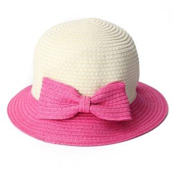Mother&Kids Bowknot Straw Caps Parent-child Folding Patchwork Sun Hats - Intl