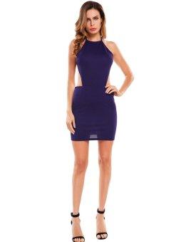 Cyber Women Sexy Backless Bodycon Club Party Mini Dress ( Purple ) - intl