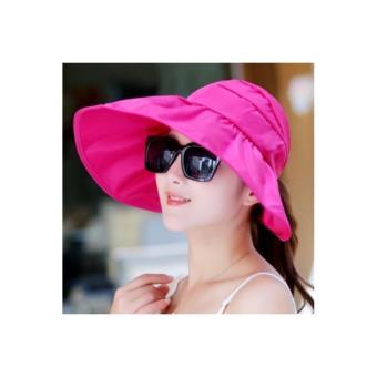 Mũ(nón)chống nắng gấp gọn tiện dụng( hồng đậm)-0303