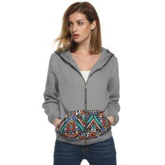 Cyber Zeagoo Women Casual National Style Pattern Patchwork Hooded Sweatshirt Top Hoodies ( Grey ) - Intl
