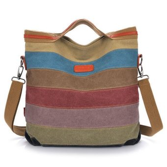 Women Canvas Contrast Color Striped Shoulder Bag Handbag - Intl