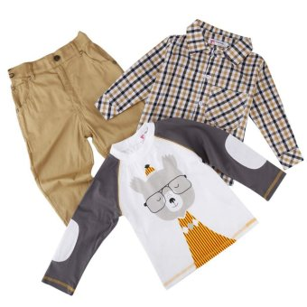 Cyber Kids Children Baby Boy Wear 3pcs Set Cartoon Tops and Checked Shirt and Solid Pants - intl