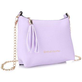 Tassel Letter Detachable Chain Zipper Shoulder Messenger Shell Bag Horizontal(Purple) - intl