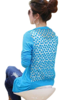 Fancyqube New 2015Hot Fashion Women Cardigan Sale Lace Sweet Candy Pure Color Slim Crochet Knit Blouse Sweater Cardigan Blue - intl