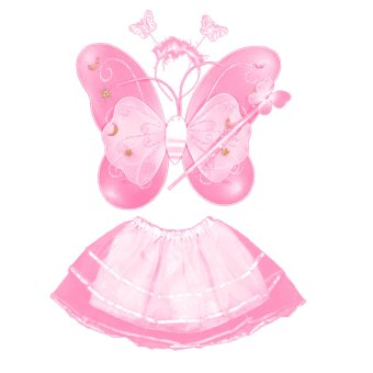 Set of 4 Cute Butterfly Wings Style Children Kids Wing Wand Headband Dresses Girl Fairy Stage Costume for Halloween Cosplay School Show Party Pink