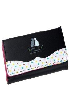 HKS Women Cat Pattern Long Purse Checkbook Money Clutch Wallet Black - intl