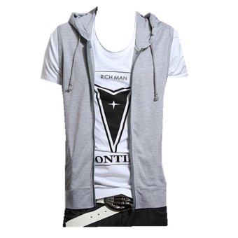 Podom Men's Casual Slim Fit Hoodie Sleeveless Vest Shirt Gray - Intl