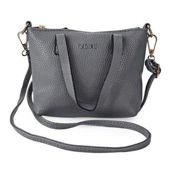 Women Business PU Letter Handbag Shoulder Bag (Gray) - intl