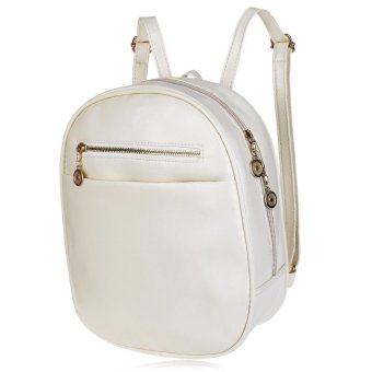 Guapabien Ladder Lock Button Shape Zipper Head Solid Color Portable Bag Backpack for Women - intl