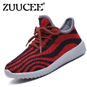 Boys Fashion Breathable Light Striped Net Shoes Weavingsports Shoes Sneaker (Red) - intl
