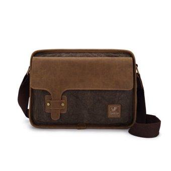 Túi đeo chéo vải bố phối chi tiết da bò cá tính– V202N (Nâu Đậm)