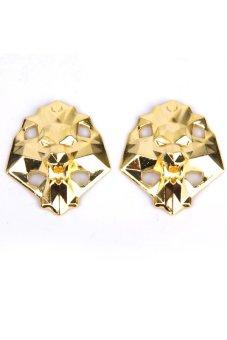 BolehDeals Footful Lion Head Metal Shoe Lace Locks Art Decoration Pair Golden - intl