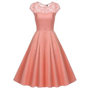 Linemart ACEVOG Women Cap Sleeve 1950s Vintage Style Lace Wedding Party Swing Midi Dress ( Pink ) - intl