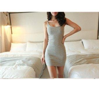 Korean Style Sexy Short Suspender Causal Dress New All-match Sexy Slim Dress cotton Dress Grey - intl