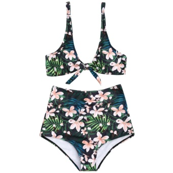ZAFUL WomensTropical Floral High Waisted Tied Bathing Suit(Green ) - intl
