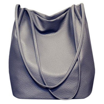 Women Casual Long Handle PU Leather Shopper Shoulder Tote Bucket Bag Handbag for Shopping Holiday Travel Grey - intl