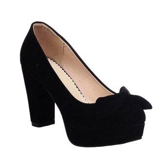 Giày gót vuông bít mũi nơ CG707 (Đen)