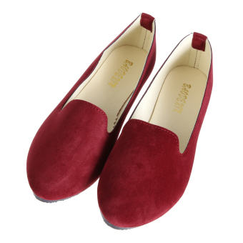 Women Casual Ballet Slip On Flats Single Shoes WineRed - intl