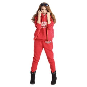 Cyber 3-in-1 Autumn Women's Leisure Suit Pullover Hoodie Coat and Vest and Long Pants (Red) - intl
