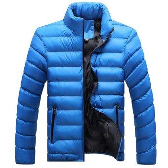 2016 New Mens Winter Jacket Trade Leisure Korean Youth Male Fashion Warm Cotton Padded Jacket (Sky Blue) - intl