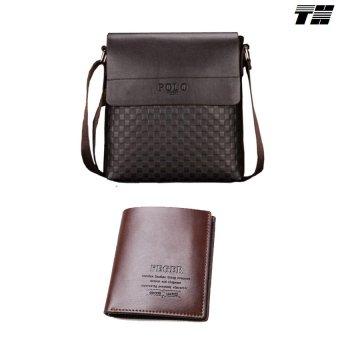 Bộ túi đeo chéo và ví da nam thời trang THCB20