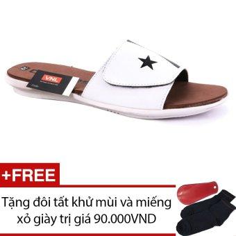 Dép nam da thật cao cấp Da Giày Việt Nam VNL0ZAD09QN (Nâu) + Tặng đôi tất khử mùi và miếng xỏ giày