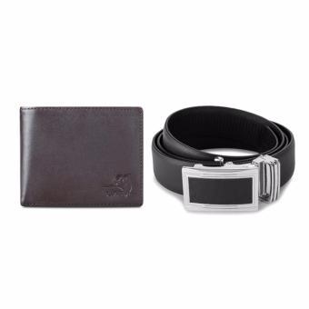 Bộ ví và thắt lưng nam da bò thật LAKA (Nâu trơn, Đen trơn) V02TL01