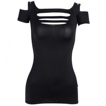 Women Bandage Elastic T-shirt Tops Black - intl