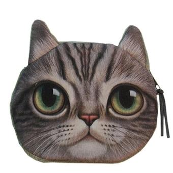 Lifelike Cat Face Zipper Case Coin Change Purse Wallet Bag Pouch Handbag Gray (Intl)