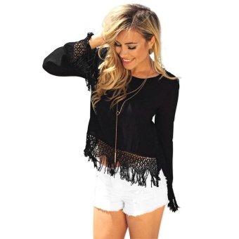 Tassels Midriff Hollow Back Women's Chiffon Shirt S Black - Intl