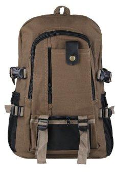 HKS Men Canvas Backpack Shoulder Outdoor Camping Travel School Student Bag Rucksack Brown - intl