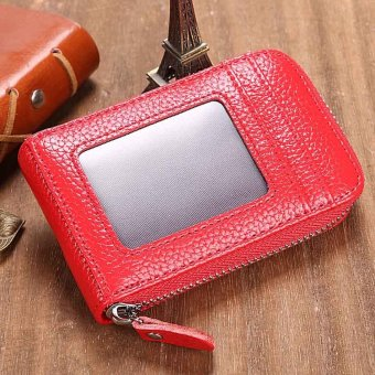 Linemart Mens/Womens Fashion Mini Synthetic Leather Wallet ID Credit Cards Holder Organizer Purse ( Red ) - intl