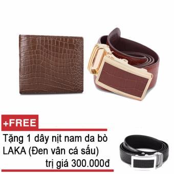 Bộ ví và thắt lưng nam da bò thật LAKA nâu cá sấu + Tặng 01 thắt lưng nam da bò LAKA (Đen vân cá sấu) trị giá 300.000d