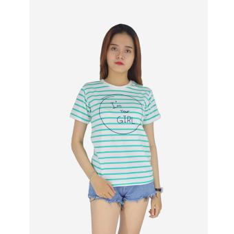Áo thun nữ sọc xanh trẻ trung Evest 139 (Trắng sọc xanh)